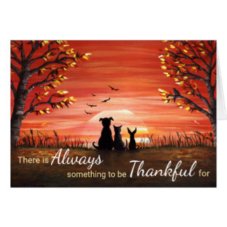 Autumn Sunset Always Thankful Greeting Card