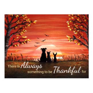 Autumn Sunset Always Thankful Postcard