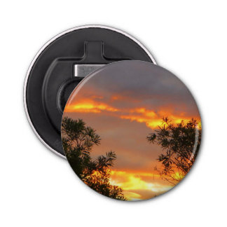 Autumn Sunset in Canberra Button Bottle Opener