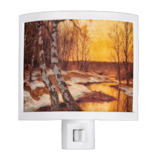 Autumn Sunset on a Snowy Woodland Creek Night Lights