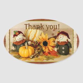 Autumn Thank You Sticker with Scarecrows