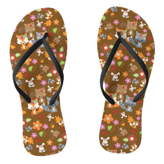 Autumn Theme Woodland Animals Pattern Flip Flops