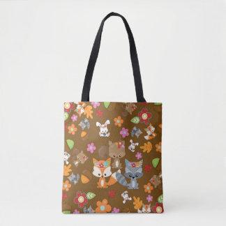 Autumn Theme Woodland Animals Pattern Tote Bag