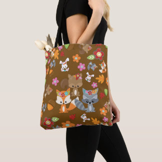 Autumn Theme Woodland Animals Pattern Tote Bag