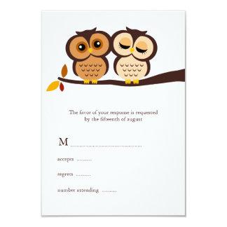 """Autumn Themed Owls Wedding 3.5"""" X 5"""" Invitation Card"""