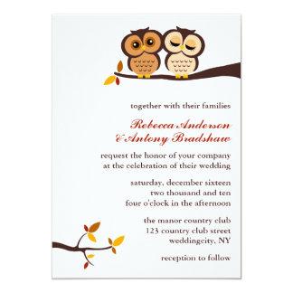 """Autumn Themed Owls Wedding 5"""" X 7"""" Invitation Card"""