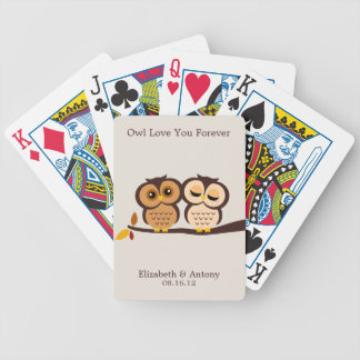 Autumn Themed Owls Wedding Bicycle Playing Cards