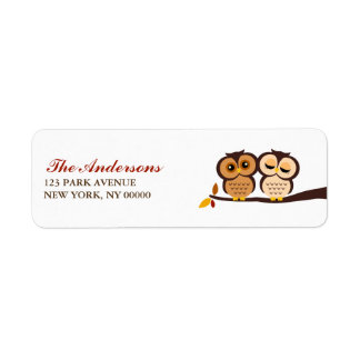 Autumn Themed Owls Wedding Return Address Label