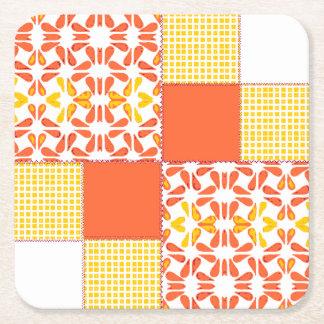 Autumn Tints Quilt Block Pattern Square Paper Coaster