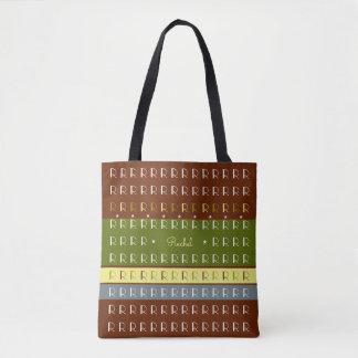 autumn tones striped monogram tote bag