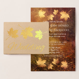 autumn trail maple leaves rustic wedding gold foil card
