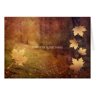 autumn trail maple leaves rustic wedding thank you card