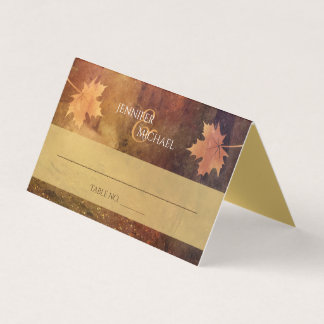 autumn trail maple leaves wedding guest table card