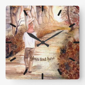 Autumn Trail Watercolor Painting Square Wall Clock