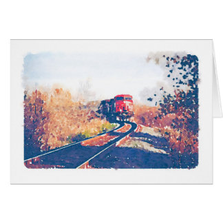 Autumn Train Watercolour Design Notecard