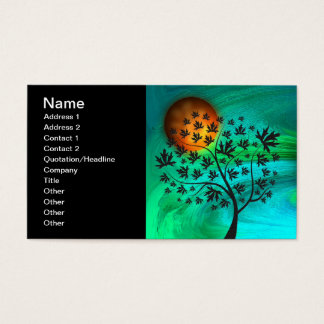 Autumn Tree and Harvest Moon Business Card