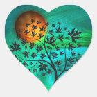 Autumn Tree and Harvest Moon Heart Sticker