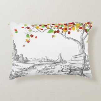 Autumn Tree, Falling Leaves Accent Pillow