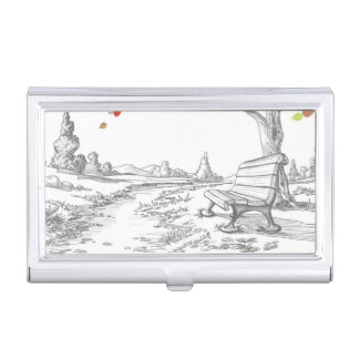 Autumn Tree, Falling Leaves Business Card Case
