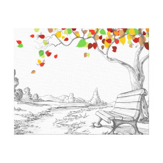 Autumn Tree, Falling Leaves Gallery Wrap Canvas