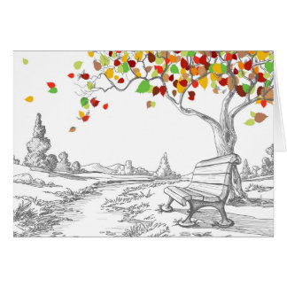 Autumn Tree, Falling Leaves Greeting Cards