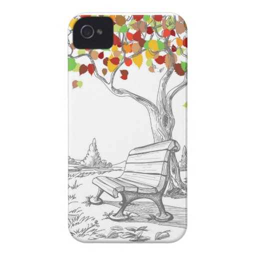 Autumn Tree, Falling Leaves iPhone 4 Cases