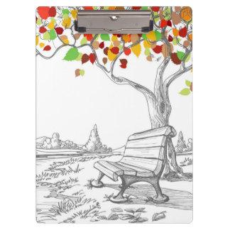 Autumn Tree, Falling Leaves Clipboard