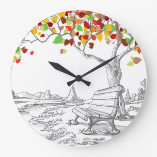 Autumn Tree, Falling Leaves Wall Clocks