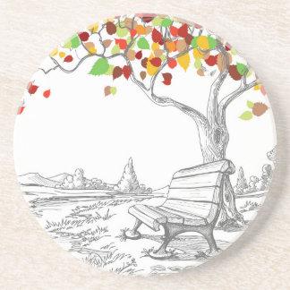 Autumn Tree, Falling Leaves Beverage Coaster