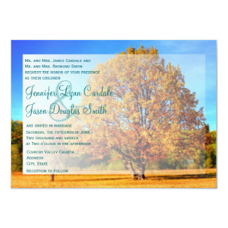 Autumn Tree Falling Leaves Fall Wedding Invitation