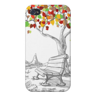 Autumn Tree, Falling Leaves iPhone 4 Cover