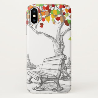 Autumn Tree, Falling Leaves iPhone X Case