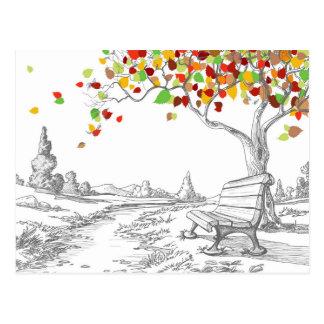 Autumn Tree, Falling Leaves Postcard