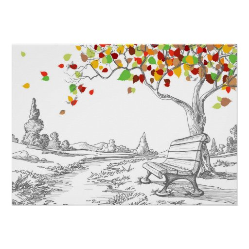 Autumn Tree, Falling Leaves Posters