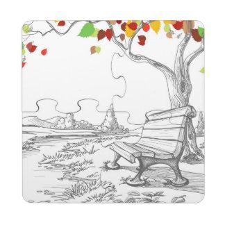 Autumn Tree, Falling Leaves Puzzle Coaster
