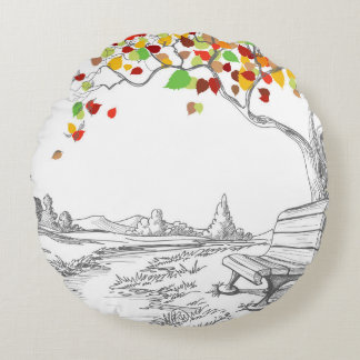 Autumn Tree, Falling Leaves Round Pillow
