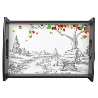 Autumn Tree, Falling Leaves Serving Tray