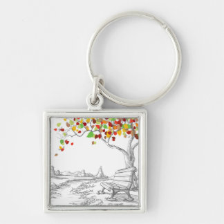 Autumn Tree, Falling Leaves Silver-Colored Square Keychain