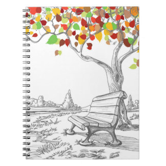 Autumn Tree, Falling Leaves Spiral Notebook