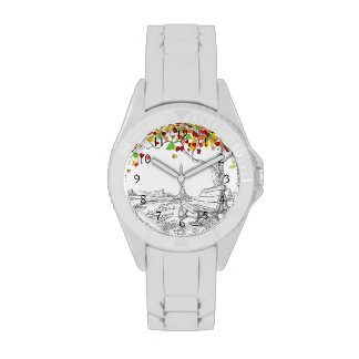 Autumn Tree, Falling Leaves Wristwatches