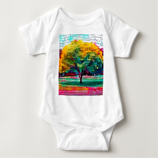 Autumn tree in vivid colors baby bodysuit