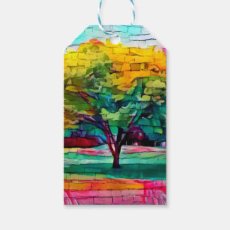 Autumn tree in vivid colors gift tags