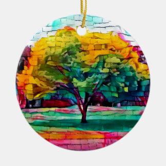 Autumn tree in vivid colors round ceramic ornament