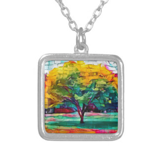 Autumn tree in vivid colors silver plated necklace