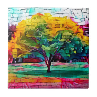 Autumn tree in vivid colors tile