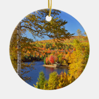 Autumn tree landscape, Maine Round Ceramic Ornament