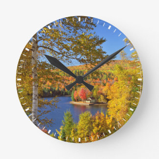 Autumn tree landscape, Maine Round Clock
