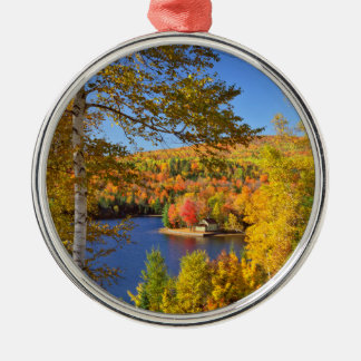 Autumn tree landscape, Maine Silver-Colored Round Ornament