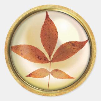 Autumn Tree Leaf Rust Classic Round Sticker