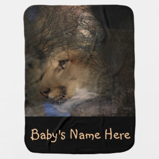 Autumn tree silhouette mountain lion wild cougar baby blanket